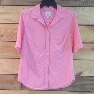 Women's Button Up Short Sleeve Pink Blouse, Size M